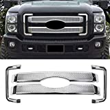 ECOTRIC Front Chrome Grill Cover Mesh Grille for 2011-2016 Ford F250 F350 Super Duty Chrome Bumper Grill Covers Hood Overlay (4pcs/8pcs - Cover Only!!Not a Grille Replacement!!) (4PCS)