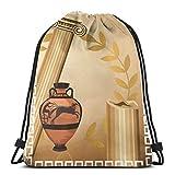Kordelzug Bapa Taschen Sport Gym Cinch Bag Reisen für Frauen Männer Kinder, Antike griechische Säulen Vase Olivenzweig Hellenic Heritage Icons