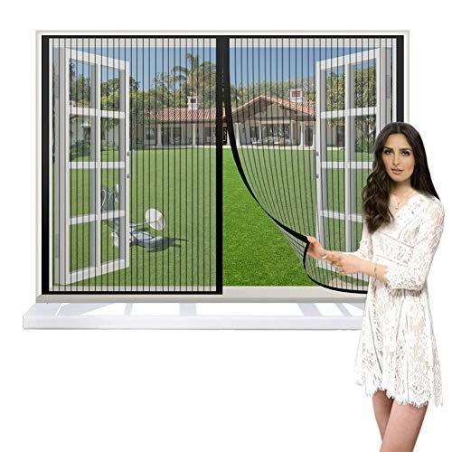 CHENG Mosquitera Magnética 135x115cm, Ventana Cortina Mosquitera para Puertas, Cerrado automáticamente Plegable Fácil de Instalar, Puertas/para Pasillos - Negro