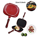 Double-sided Portable BBQ Grill Pan Nonstick Double Side Omelette Pan Flip Pan Aluminum Alloy...