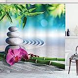 ABAKUHAUS Spa Duschvorhang, Spa Sand Orchidee Blume, Wasser Blickdicht inkl.12 Ringe Langhaltig Bakterie & Schimmel Resistent, 175 x 180 cm, Blaue Farn grüne Fuchsia