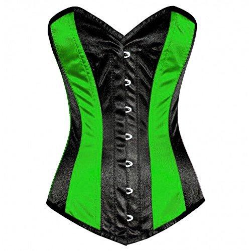 Disfraz de burlesque gtico, de satn, color verde y negro