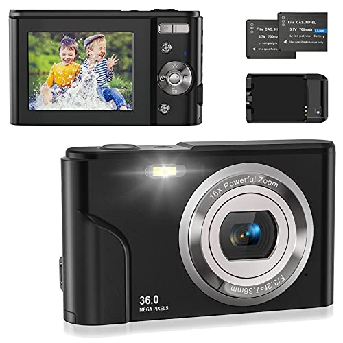 Compactas Cámaras Digitales,1080P HD Cámara de Fotos 2.4' 36 MP Recargable Cámaras Digitales con Zoom Digital 16X, Cargador, 2 baterías,para Estudiantes,niños,Ancianos,Principiantes