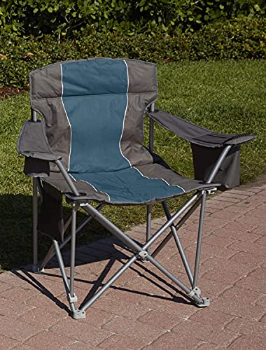 LivingXL 1000-lb. Capacity Heavy-Duty Portable Oversized Chair, Collapsible Padded Arm Chair with Cup Holders and Lower Mesh Side Pocket, Blue