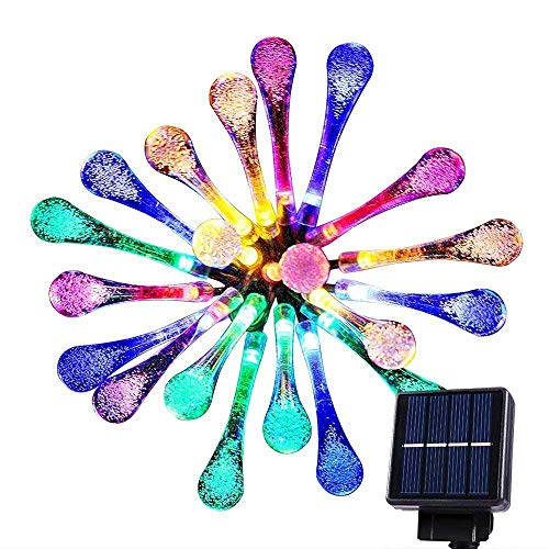 20 LED Multi Color Solar String Lights Outdoor Garden String Lights Solar Powered, Goodia 4.8M Waterproof Crystal Raindrop Decorative Lights for Garden, Terrace, Patio, Fence, Christmas, Parties