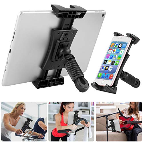 Supporto Tablet Bici Spinning, Porta Ipad per Tapis Roulant/Auto Poggiatesta/Microfono, 360° Regolabile Supporto Ipad Cyclette per IPad Pro, IPad Mini, IPad Air e Tablet 4.7-12.9 Pollici