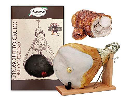 Prosciutto Crudo intero con osso, in confezione regalo con morsa e coltello + Trancio di porchetta di Ariccia IGP 3 kg,...
