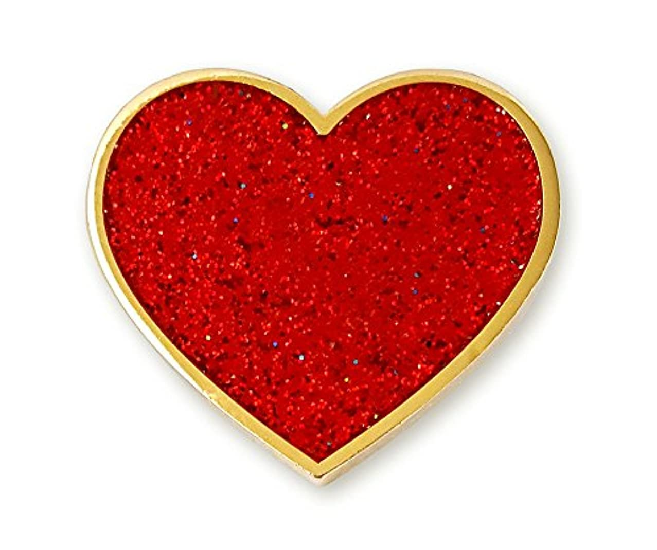 Pinsanity Red Glitter Valentine's Day Heart Enamel Lapel Pin