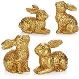 com-four® 4X Coniglietto di Figura Decorativa - Coniglietto di Pasqua Color Oro - Decorazione da Stand per Pasqua - Coniglietto di Pasqua in Due Pose [la Selezione Varia] (04 Pezzi - 8cm Color Oro)