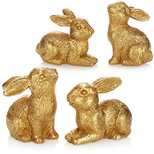com-four® 4X Dekofigur Hase - Osterhasen goldfarben - Standdeko für Ostern - Osterhase in Zwei Posen [Auswahl variiert] (04 Stück - 8cm goldfarben)