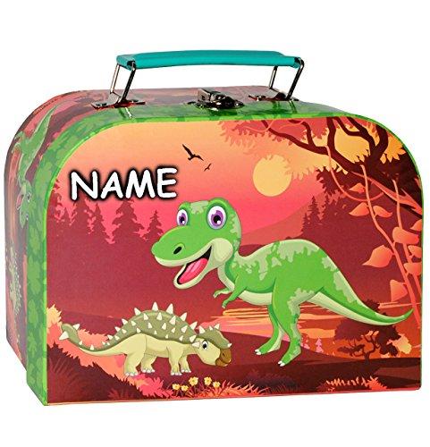 alles-meine.de GmbH 1 Stück _ Koffer / Kinderkoffer - KLEIN -  Dinos / Dinosaurier - T-Rex  - incl. Name - 20 cm - Pappkoffer - Puppenkoffer - Kinder - Pappe Karton - Tier - Sa..