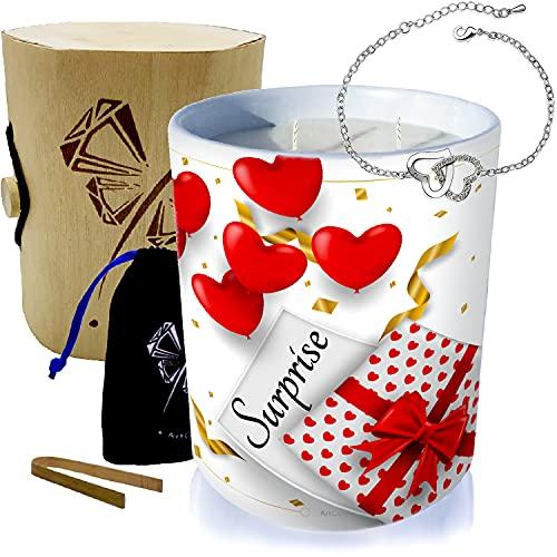 Vela con joya de plata decorada con cristales de Swarovski® • Vela de 2 mechas de decoración regalo de cera vegetal, perfumada monoï de Tahití • (pulsera de 2 corazones)
