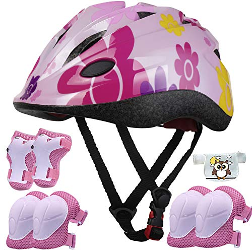 Kids Helmet Adjustable with Sports Protective Gear Set Knee Elbow Wrist Pads for Toddler Ages 4 to 10 Years Old Boys Girls Cycling Skating Scooter Helmet - (Pink Sun Flower)