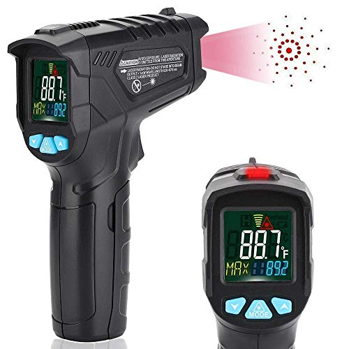 Infrarot Thermometer IR Pyrometer -50 bis +550℃ (-58 bis +1022℉) mit Alarmfunktion IR Laser Digital Thermometer Berührungslos Temperaturmessgerät Temperaturmesser mit Farbe lcd 12-Punkte-Laserkreis