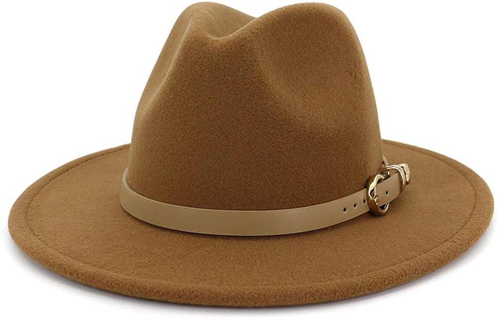 Gossifan Women Hats for Winter Wide Brim Fedora Hat with Classic Belt Buckle