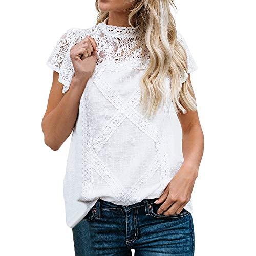 Camisetas Mujer Dia de la Mujer Verano Patchwork De Encaje Casual Ahuecar Volantes Manga Corta Suéter De Cuello De Tortuga Linda Blusa Floral Camiseta Blanca para Mujer Hanyixue