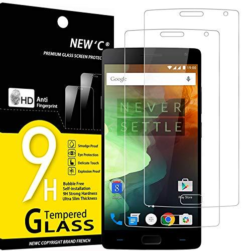 NEW'C 2 Stück, Schutzfolie Panzerglas für Oneplus 2, Frei von Kratzern, 9H Festigkeit, HD Bildschirmschutzfolie, 0.33mm Ultra-klar, Ultrawiderstandsfähig
