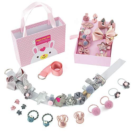 36 Stücke Kinder Schleife Haargummis Haarschmuck Set, Joeyer Kinder Mädchen Haarbögen Haarspangen mit Geschenkbox für Kinder Geburtstagsgeschenk Kindertagsgeschenk