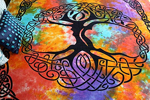 India Arts Celtic Tapestry Tree of Life Bedspread Cotton Beach Sheet Beach Throw Bed Sheet Dorm Decor with Fringes (Twin 70x104 inches, Multicolor)