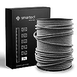 smartect Cable para lámparas de tela en color Blanco Negro - Cable textil trenzado de 2 Metro - 3 hilos (3 x 0,75 mm²) - Cable de luz con revestimiento textil