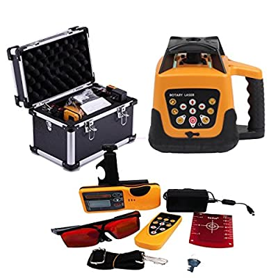 Iglobalbuy Automatic Electronic Self-Leveling Rotary Rotating Red Laser Level Kit 500M W/ Goggles+ Carrying Case