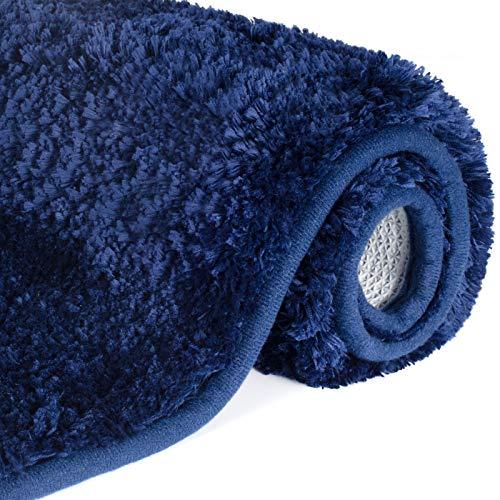 Lifewit Bathroom Rug Bath Mat 32'x20' Non-Slip Soft Shower Rug Plush Microfiber Water Absorbent Thick Shaggy Floor Mats, Machine Washable, Blue