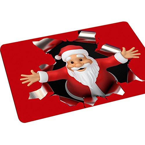 aaa226Navidad estilo Santa Claus antideslizante Felpudo cocina alfombra de baño–40x 60cm, poliéster,...