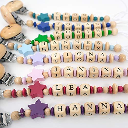 Sharlene Schnullerkette mit Wunschnamen - in verschiedene Farben