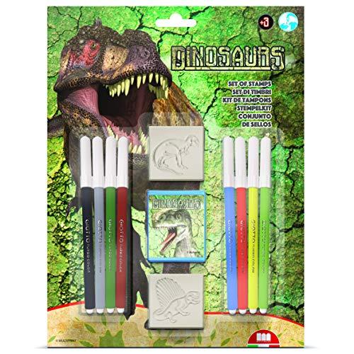 Multiprint Blister 2 Timbri per Bambini Dinosauri, 100% Made in Italy, Set Timbrini Bimbi Personalizzati, in Legno e Gomma Naturale, Inchiostro Lavabile Atossico, Idea Regalo, Art.26220
