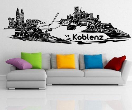 Wandtattoo Koblenz Skyline Aufkleber City XXL Stadt Wandbild Deutschland 1M514, Farbe:Schwarz Matt;Skyline Länge:180cm