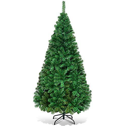 Costway Sapin de NoëlArbre de NoëlArtificiel pour Décoration de Noël Matériau PVC avec Pied en Métal150cm-240cm Vert Nature (1.5M)