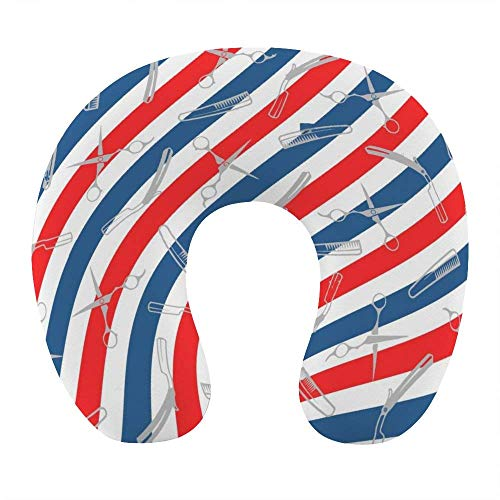 Transpirable Cómodo Americano EE. UU. Barbería Bandera Rayas Almohada para el Cuello Espuma de Memoria Suave Almohada de Viaje en Forma de U para avión Oficina en casa Coche