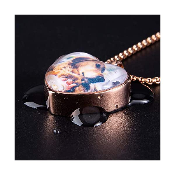 Fanery sue Personalized Photo Cremation Urn Necklace for Ashes Custom Engraving Pendant Memorial Keepsake Jewelry with Filling Tool(Heart-Rose Gold)
