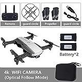 RONSHIN Quadricoptère Pliable RC Drone x Pro 5G Selfie WiFi FPV avec 4K HD Double caméra Paquet Double Batterie Noire 4K