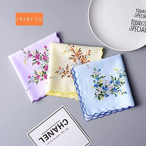 DinoSwap 3pcs Lady Square Pocket Floral Women Printed Handkerchiefs 30cm Table Small Handkerchief Embroidered Flower Hand Towel Gifts RF2 - See Chart - 30x30cm - 077405