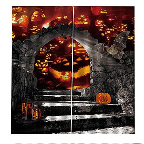FACWAWF Decoración De Halloween Cortina Lámpara De Calabaza Sala De Estar 3D Dormitorio Balcón Decoración Cortina Habitación De Los Niños Insonorización Cortina Opaca Anti-UV 2xW140xH175cm
