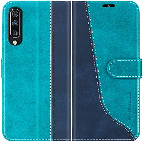 Mulbess Handyhülle für Samsung Galaxy A70 Hülle Leder, Samsung Galaxy A70 Handy Hüllen, Modisch Flip Handytasche Schutzhülle für Samsung Galaxy A70, Mint Blau