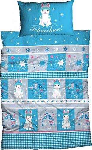 Adelheid Biber Bettwäsche Schneehase für Kinder, Größe:100x135 cm + 40x60 cm