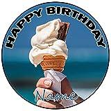 AK Giftshop Decoración para tarta de cumpleaños con forma de cono de helado, redonda, 20 cm, cualquier edad y nombre