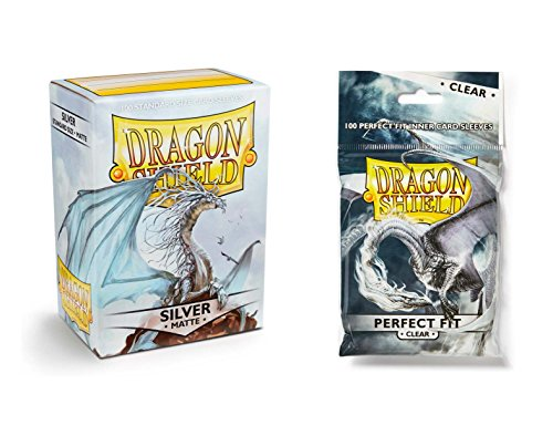 Dragon Shield Bundle: Matte Silver 100 Count Standard Size Deck Protector Sleeves + 100 Count Clear Inner Card Sleeves