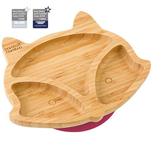 Plato de succión para bebés y niños con forma de zorro, plato de bambú natural cereza
