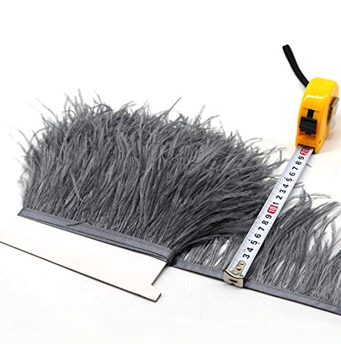 Flecos de plumas de avestruz de 34 colores para hacer sombreros o vestidos gris oscuro