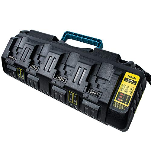 DCB104 12V 20V Fast Charger for Dewalt, 4-Port Lithium Ion MAX Battery Charger Replace for Dewalt DCB112 DCB115 DCB102BP DCB107 DCB105 DCB10, Use for DCB606 DCB205 DCB206 DCB204 DCB120 Li-ion Battery