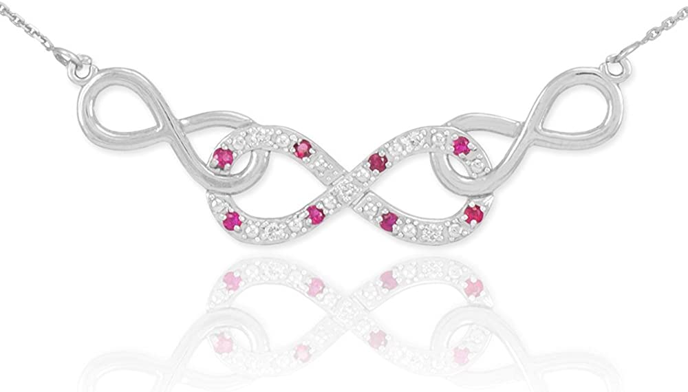 Forever Dainty 14k White Gold Ruby and Diamond Triple Infinity Pendant Necklace