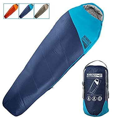 Winner Outfitters Mummy Sleeping Bag with Compression Sack, It's Portable and Lightweight for 3-4 Season Camping, Hiking, Traveling, Backpacking and Outdoor (Navy Blue/Deep Petrol Blue, 32 W x 87 L)