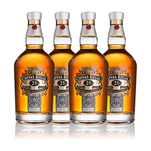 Chivas Regal 25 años Blended Scotch Whisky 4er Set, Whiskey, Schnaps, Spirituose, alcohol, botella, 40%, 4x700 ml