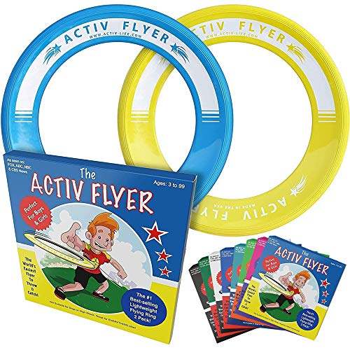 Activ Life Best Kids Flying Rings [Yellow/Cyan] - Top Birthday Presents & Gifts for Young Boys Girls...