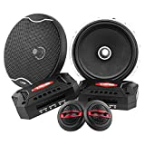 DS18 EXL-SQ6.5C 6.5 Inch 2-Way Packaged Component Car Audio Sound Quality Speaker System with 2 X 6.5-Inch MID Bass Woofers, 2 X Tetoron Dome Neo Tweeters, and 2 X Passive Crossovers, Black