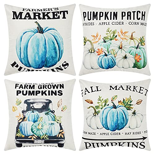 UINI Fall Throw Pillow Covers, Set of 4 Blue Watercolor Pumpkin Pillow Covers 18x18 inch, Thanksgiving Pumpkins Decorative Pillowcases Cushion Covers for Couch, Bed, Sofa