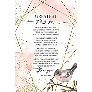 Greatest Mom Wood Plaque with Inspiring Quotes 6 inch x 9 inch - Elegant Vertical Frame Wall & Tabletop Decoration | Easel & Hanging Hook | Dear Mom I m so Grateful God Chose You to give me Birth